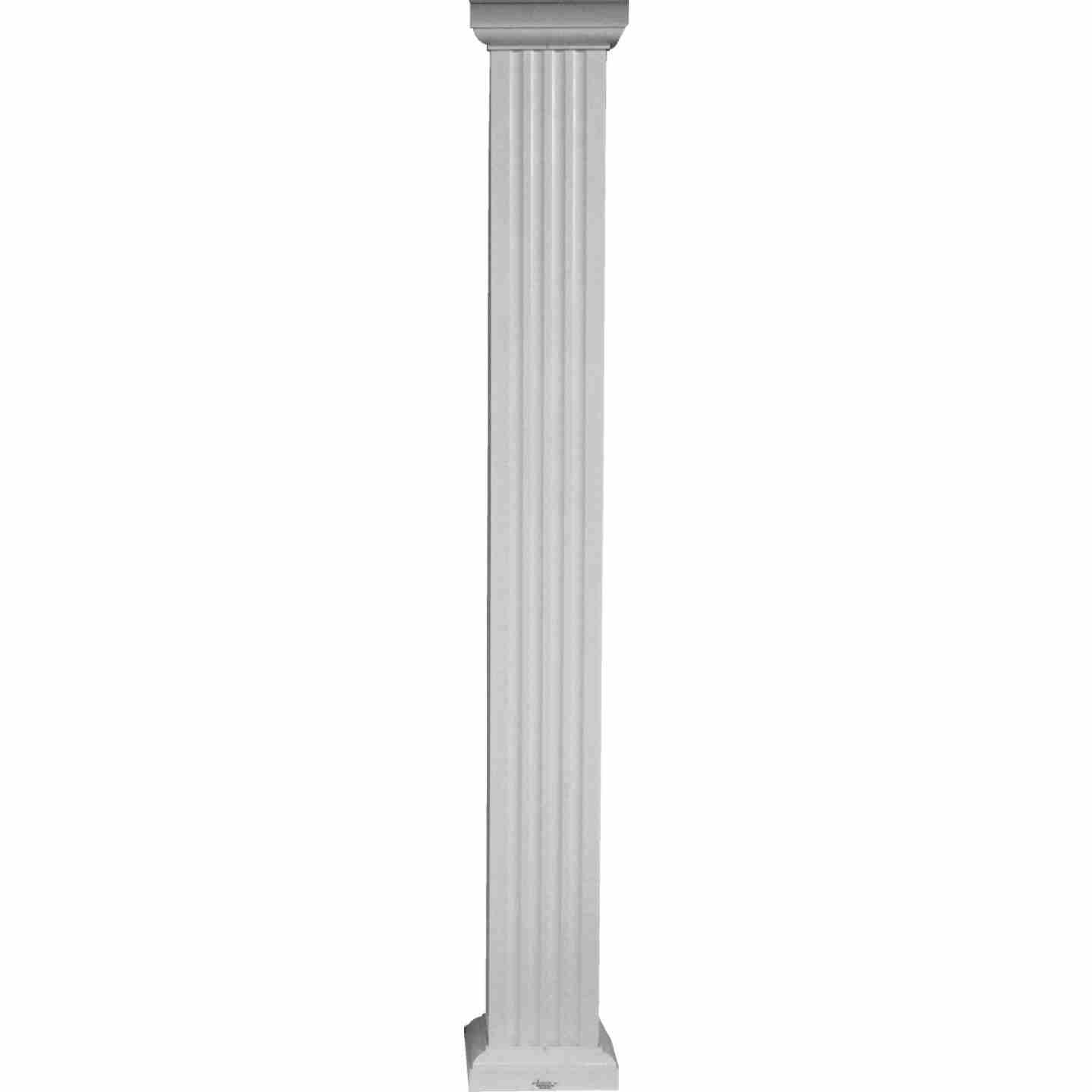 Crown Column 6 In. x 8 Ft. White Powder Coated Square Fluted Aluminum Column Image 1
