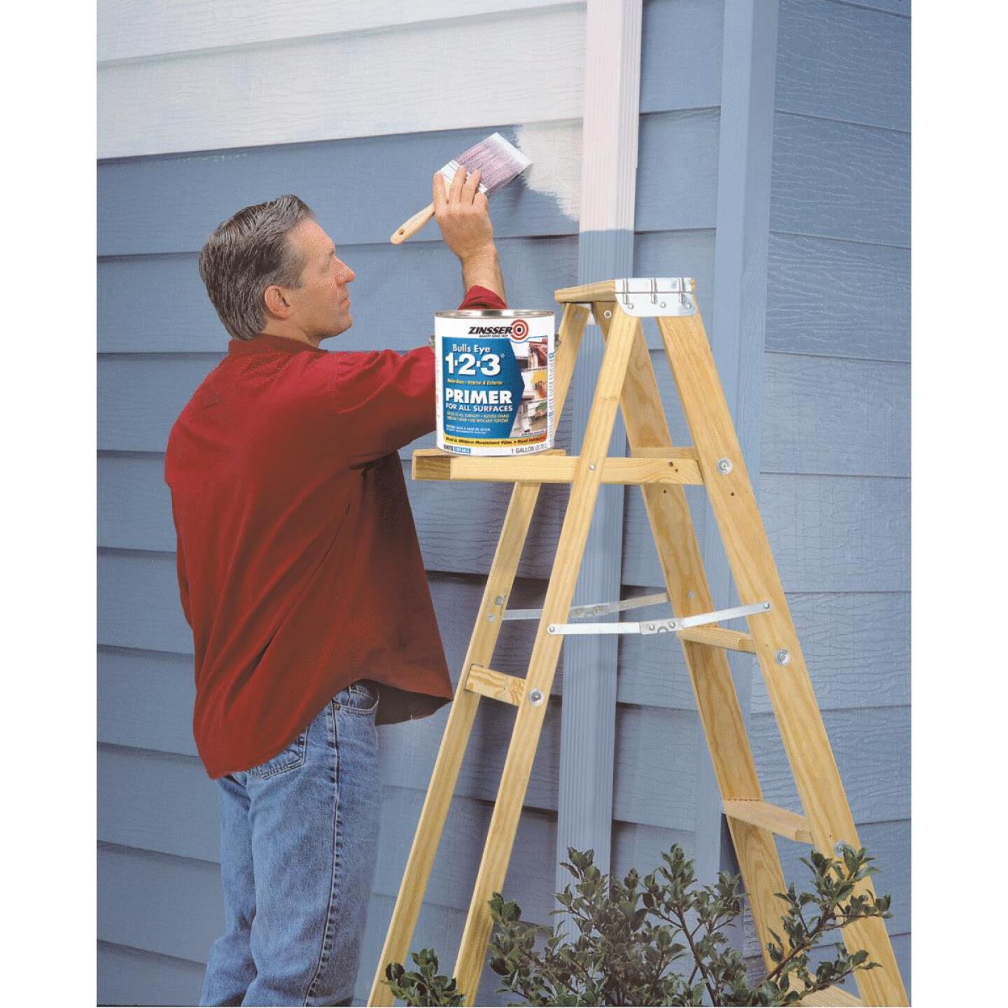 Zinsser Bulls Eye 1-2-3 Water-Base Interior/Exterior Stain Blocking Primer, White, 1 Gal. Image 2